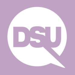 Disabled Survivors Unite logo with a white speech bubble on lilac background and DSU written inside in lilac with a cut out extending from the S and U underneath.