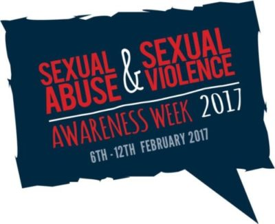 Blue speech bubble logo. Red and white text reads: SEXUAL ABUSE AND SEXUAL VIOLENCE AWARENESS WEEK 2017. 6TH - 12TH FEBRUARY