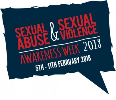 Blue speech bubble logo. Red and white text reads: SEXUAL ABUSE AND SEXUAL VIOLENCE AWARENESS WEEK 2018. 5TH - 11TH FEBRUARY